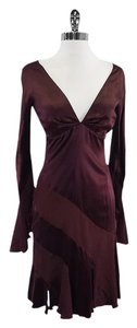 Valentino short dress Maroon Long Sleeve Silk Tulip Hem on Tradesy