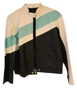 Wilsons Leather black, white and mint Leather Jacket