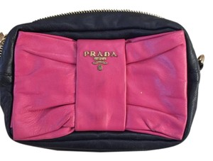 Prada Leather Black with pink bow Clutch