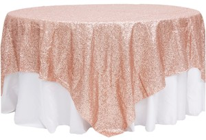 "Blush Lot Of 10 90""X90"" Sequin Table Overlays Bling Glam Sparkle Event Party Anniversary Tablecloth"