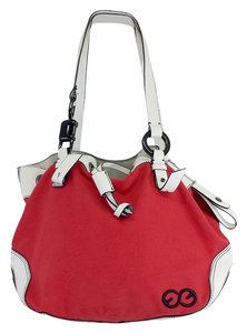 Escada Red White Canvas Leather Hobo Bag