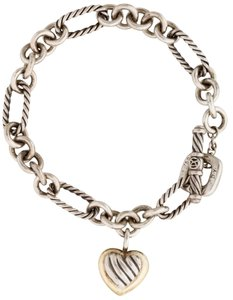 David Yurman Sterling silver 18K gold David Yurman Heart chain link bracelet