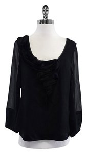 Diane von Furstenberg Black Ruffled Silk Top