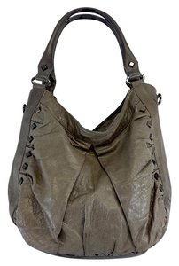 Treesje Taupe Leather Studded Shoulder Bag