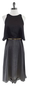 Halston Charcoal Ombre Belted Dress