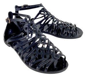 Diane von Furstenberg Black Jaya Jelly Gladiator Sandals