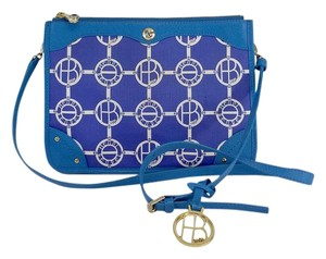Henri Bendel Blue White Monogram Cross Body Bag