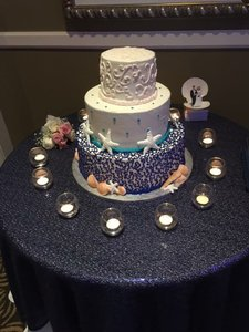 2 Navy Sequin Table Overlays