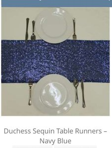 15 Navy Blue Sequin Tablerunners