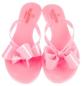Valentino Jelly Bow Rubber Embellished Pink Sandals
