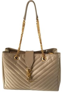 Saint Laurent Ysl Monogram Matalasse Satchel in BEIGE
