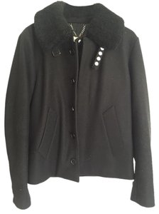 Sandro Shearling Wool Pea Coat