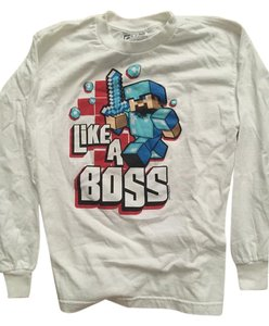 Minecraft Diamond Longsleeve Blue T Shirt White with Minecraft Character