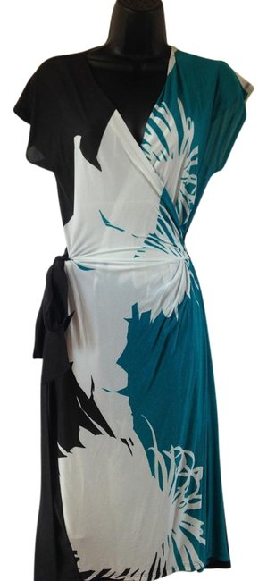 Item - Cream Gray Teal Mid-length Short Casual Dress Size 12 (L)