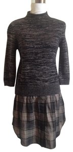 Carven short dress grey and plaid Gray Wool Knit Combo on Tradesy