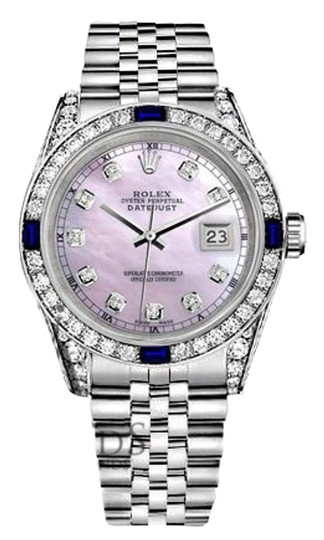 Preload https://img-static.tradesy.com/item/18522445/rolex-women-s-31mm-pink-mop-jubilee-bracelet-sapphire-and-diamonds-watch-0-2-540-540.jpg