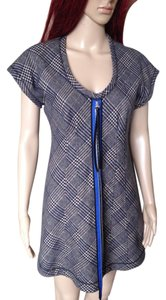 Derek Lam short dress grey and blue Wool Sleeveless Tweed Tunic Plaid on Tradesy