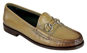 Gucci Leather Horsebit 274112 Pale Khaki Flats
