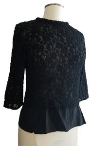 Nina Ricci 3/4 Sleeve Lace Wool Blend Slim Fit Top black
