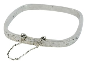 Engraved Sterling Silver Square Bangle Bracelet