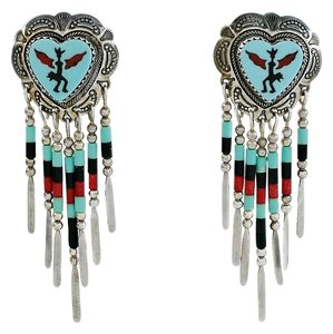 Quoc Turquoise, Inc. Native American Kokopelli Chandelier Earrings