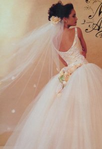 Lazaro #3806 Ivory / Sherbet Tulle Ballgown Scoop Tank Corset Lace-up Wedding Dress