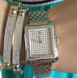 Michele NWT MICHELE DECO MODERNE 2 DIAMOND with PAVE FACE WATCH MWW06Y000023