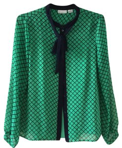 Liz Claiborne Button Down Shirt Green and Black