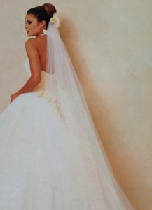 Lazaro 2004 Sexy Low Back Buttercup Tulle Halter Wedding Dress