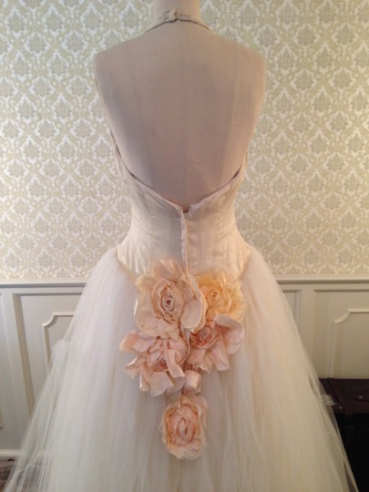 Lazaro Buttercup Ivory Silk Satin Organza Tulle Sexy Low Back Halter Ballgown 3d Flowers Formal Wedding Dress Size 8 (M) Image 1