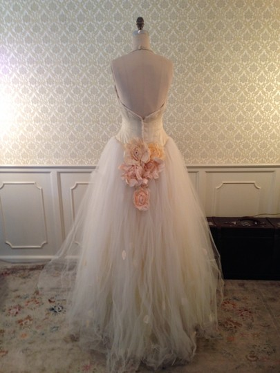Lazaro Buttercup Ivory Silk Satin Organza Tulle Sexy Low Back Halter Ballgown 3d Flowers Formal Wedding Dress Size 8 (M) Image 5