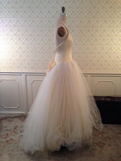 Lazaro Buttercup Ivory Silk Satin Organza Tulle Sexy Low Back Halter Ballgown 3d Flowers Formal Wedding Dress Size 8 (M) Image 9