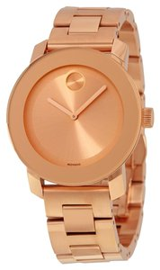 Movado Crystal Dot Rose Gold Stainless Steel Designer Ladies Watch
