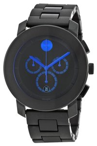 Movado TR90 Black Dial Blue Accents Stainless Steel MENS Casual Watch