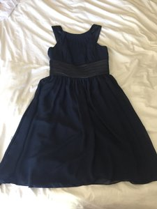 Navy Blue A-line/princess Scoop Neck Knee-length With Ruffle Dress