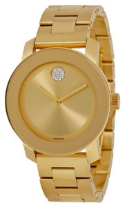 Movado Crystal Dot Gold tone Stainless Steel UNISEX Designer Watch