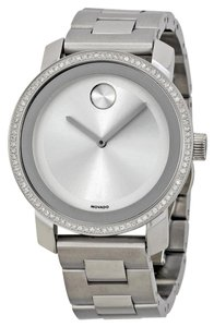 Movado Diamond Set Bezel Silver Stainless Steel Luxury Dress Watch