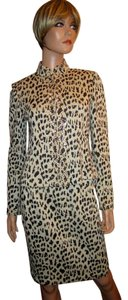 St. John Leopard Skirt 2 Jacket 4 Santana Knit Paillette Stud Embellished USA