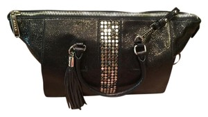 MILLY Studded Leather Satchel in metallic black