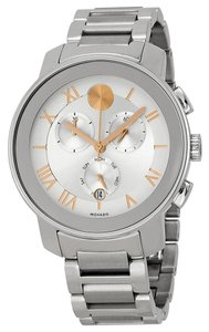 Movado Two Tone Silver Rose Gold Stainless Steel Designer SEX Watch