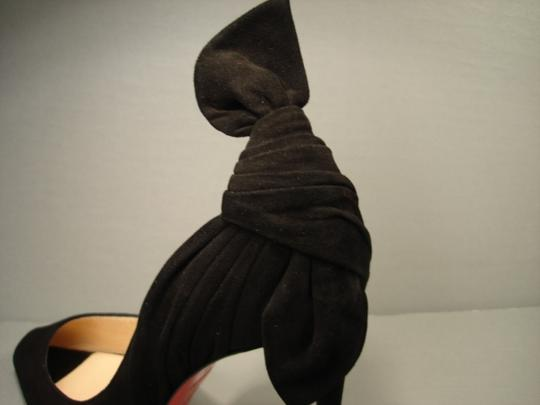 Christian Louboutin Half D'orsay Small Open Toe Twisted Knot Low Cut Vamp Size 38/7.5 Black Pumps Image 4