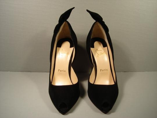 Christian Louboutin Half D'orsay Small Open Toe Twisted Knot Low Cut Vamp Size 38/7.5 Black Pumps Image 9