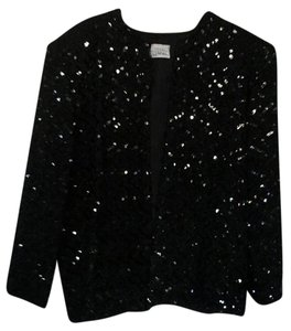 Miss IT Sequined Vintage Formal Black Jacket
