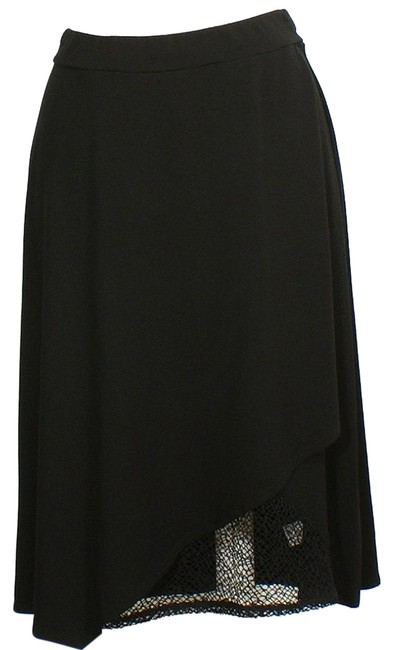 Preload https://img-static.tradesy.com/item/18527569/eileen-fisher-black-viscose-jersey-faux-wrap-lace-accent-xs-skirt-size-2-xs-26-0-1-650-650.jpg