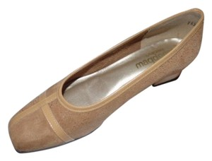 California Magdesians Dressy Or Casual Retro Look Almond Toes Square Low Heels Linear Design tan suede & leather Flats