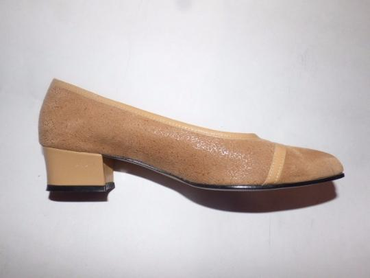 California Magdesians Dressy Or Casual Retro Look Almond Toes Square Low Heels Linear Design tan suede & leather Flats Image 2