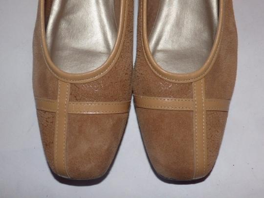 California Magdesians Dressy Or Casual Retro Look Almond Toes Square Low Heels Linear Design tan suede & leather Flats Image 3