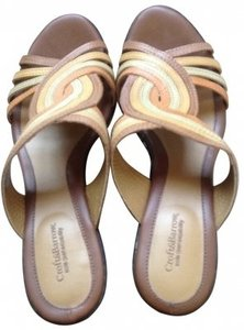 Croft & Barrow Multi Colored Leather brown & beige Sandals