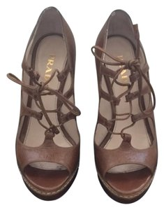 Prada Lace Up Open Toe Brown Pumps