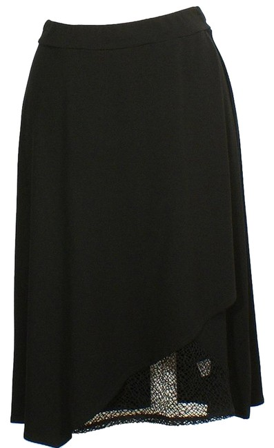 Preload https://img-static.tradesy.com/item/18528367/eileen-fisher-black-viscose-jersey-faux-wrap-lace-accent-s-skirt-size-6-s-28-0-2-650-650.jpg
